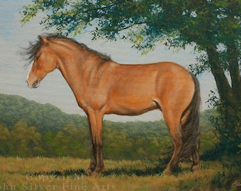 Horse Portrait. Original Painting (Old Style) by UK artist JOHN SILVER. B.A. 14 x 10 inches on Premium Quality Canvas Panel.