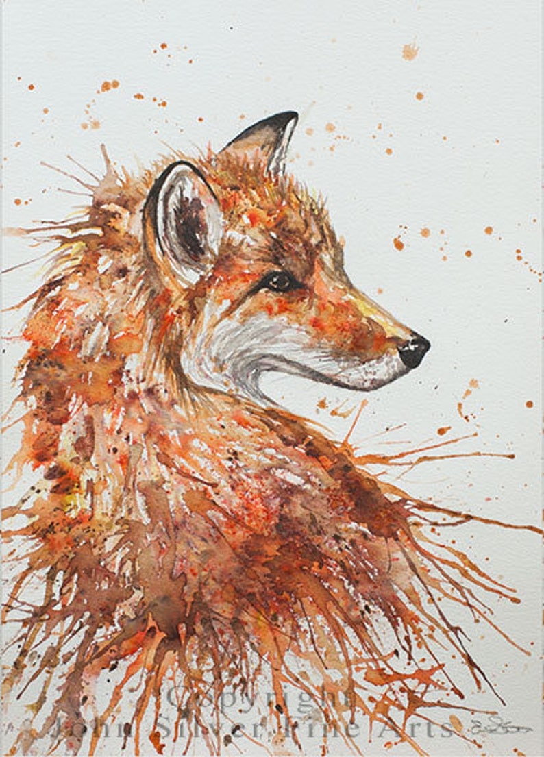 Aceo Print Fox Portrait. From an Original Painting by EMMA image 0