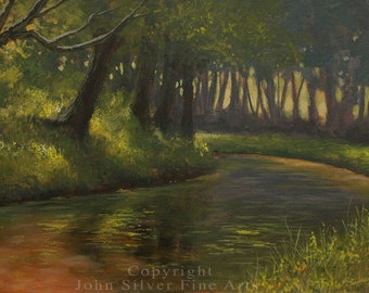 """Impressionist Landscape Art. """"Canal Scene"""" Original Painting by UK artist JOHN SILVER. B.A. 9.5 x 7 inch on Canvas panel"""