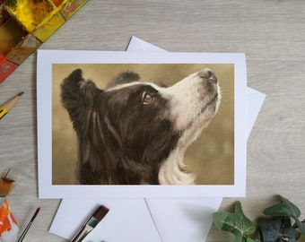 Border Collie Hand Made Blank Greetings Card. 7 x 5 inch with envelope and plastic sleeve. From an Original Painting by JOHN SILVER. GCC902