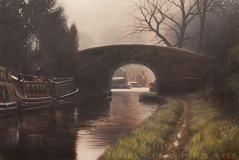 British Canal Scene Original Painting by award winning British image 0