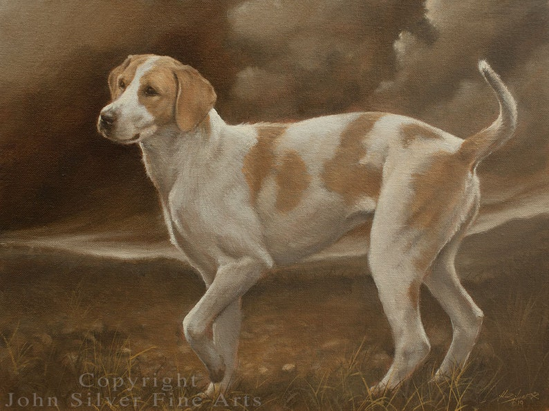 Foxhound Dog Classical Portrait. Original Oil Painting by image 0