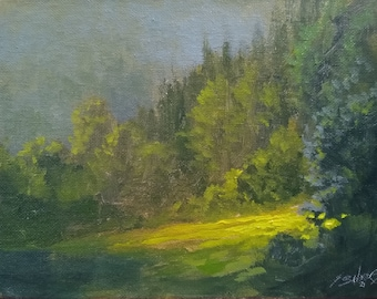 Landscape Original Impressionist Painting by award winning UK artist JOHN SILVER. B.A. 8 x 6 inches