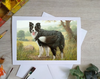 Border Collie Hand Made Blank Greetings Card. 7 x 5 inch with envelope and plastic sleeve. From an Original Painting by JOHN SILVER. GCC966