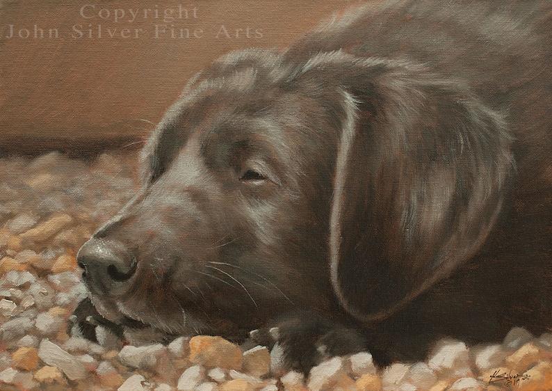 Black Labrador Puppy Dog Classical Portrait. Original Oil image 0