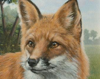 Fox Portrait. Original Realism Acrylic Painting by UK Artist JOHN SILVER. B.A. 14 x 10 inch on Canvas Panel.