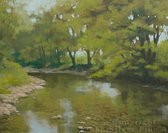 River Scene Impressionist Landscape Original Painting by UK artist JOHN SILVER. B.A. 23.5 x 15.75 inch Stretched Box Canvas