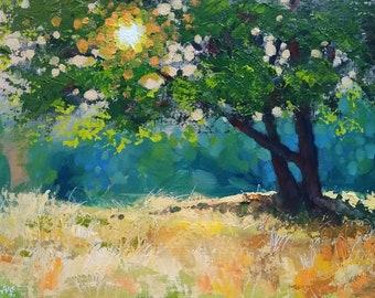"Impressionist Landscape Art. ""Woodland Scene"" Original Painting by UK artist JOHN SILVER. B.A. 10 x 14 inch on Canvas panel"