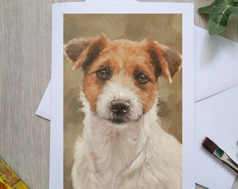 Jack Russell Terrier Dog Hand Made Blank Greetings Card. 7 x 5 inch with envelope and plastic sleeve. From a Painting by JOHN SILVER. GCC930