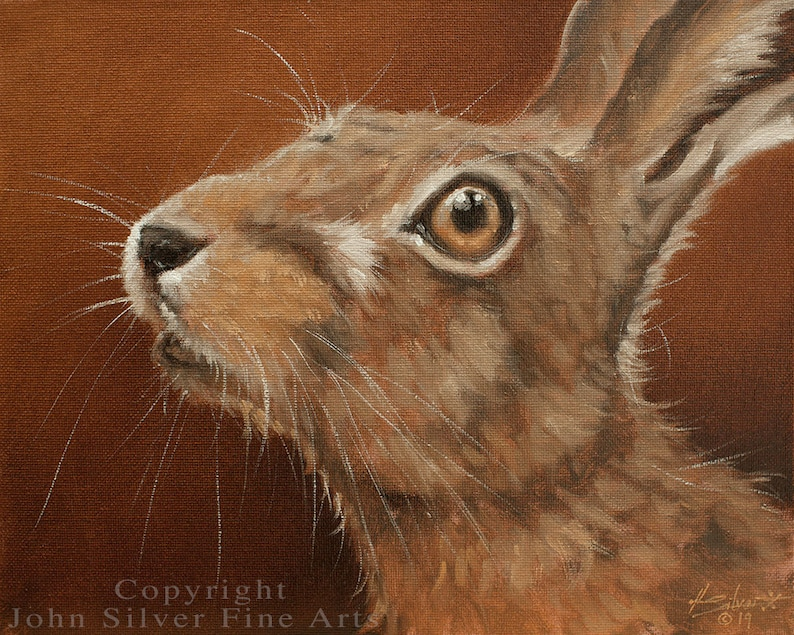 Hare Portrait. Original Classical Oil Painting by award image 0
