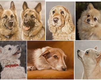 Custom Pet Portrait Head & Shoulders Dog Painting by award winning Leading UK artist John Silver. 10 x 8 inches