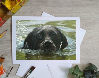 Black Labrador Dog Hand Made Blank Greetings Card. 7 x 5 inch with envelope and plastic sleeve. From a Painting by JOHN SILVER. GCC965