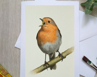 Robin Portrait Hand Made Blank Greeting Card 7 x 5 inch with envelope and plastic sleeve From an Original Painting by JOHN SILVER. GCW734