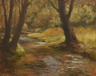 Woodland River Landscape Art. Impressionist Original Oil Painting by UK artist JOHN SILVER. B.A. 10 x 12 inch on Canvas panel