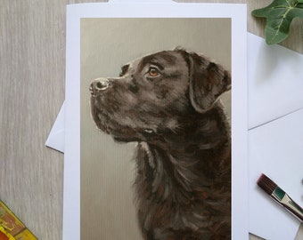 Black Labrador Dog Hand Made Blank Greetings Card. 7 x 5 inch with envelope and plastic sleeve. From a Painting by JOHN SILVER. GCC941