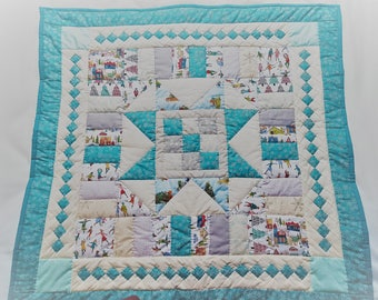 Christmas Star Lap Quilt, Wall Quilt, Patchwork Table Topper.