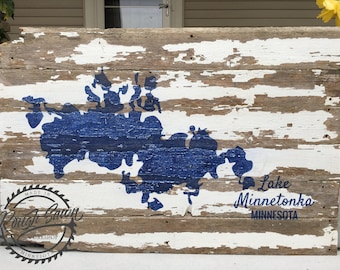 Lake Minnetonka Map on Reclaimed Barnwood-Large