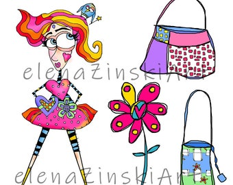 4 x DIGI STAMPS - colour me in