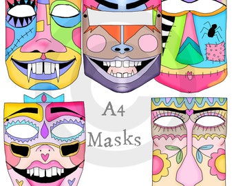5 x large fun faces or masks (not health-safety mask)