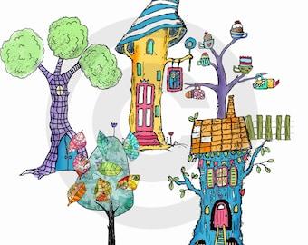 Tree house digi stamps