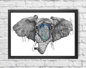 Elephant Graffiti Wall, Art Print, Illustration