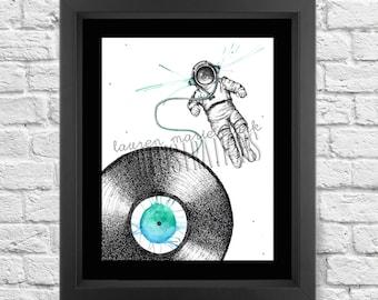 Moon Man Record, Art Print, Illustration
