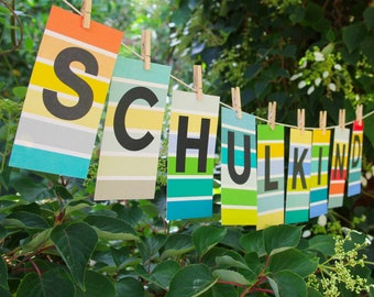 Individualized letter garland from ABC postcards