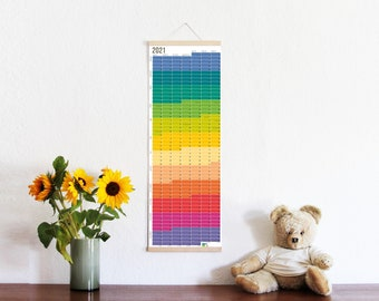 2021 Calendar Wallplanner Rainbow colours Wall Decoration Poster 2021 FRAME NOT INCLUDED english & german printed on both sides
