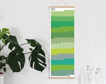 2021 Calendar Wallplanner Planner green yellow (only German) 2021 Limited Edition FRAME NOT INCLUDED