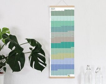 2021 Calendar Wallplanner Planner Pastel Aqua Turquoise Green Blue 2021 Limited Edition English + German FRAME NOT INCLUDED