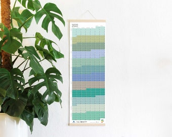 2022 Calendar Wallplanner Planner Pastel Aqua Turquoise Green Blue 2022 Limited Edition English + German FRAME NOT INCLUDED
