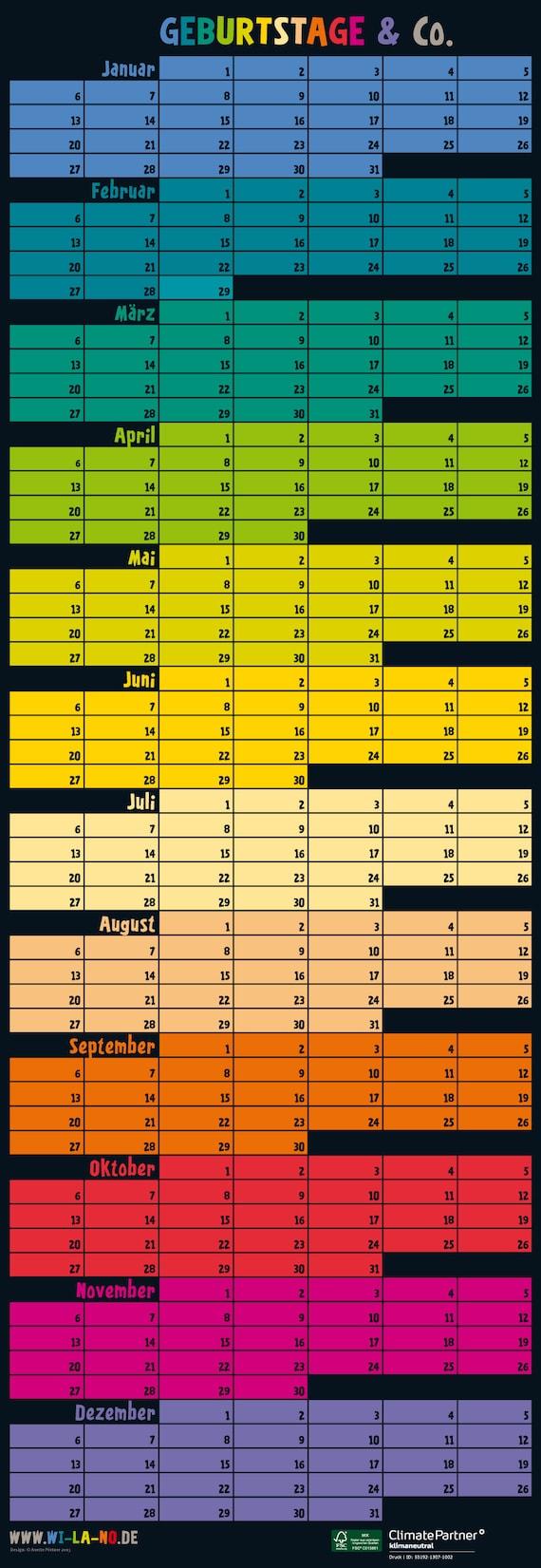 Geburtstagskalender 23x19cm Ewiger Kalender Immerw/ährender Wandkalender schwarz weiss DIY