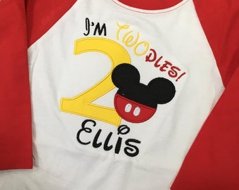 Personalized Second Birthday Mouse Raglan