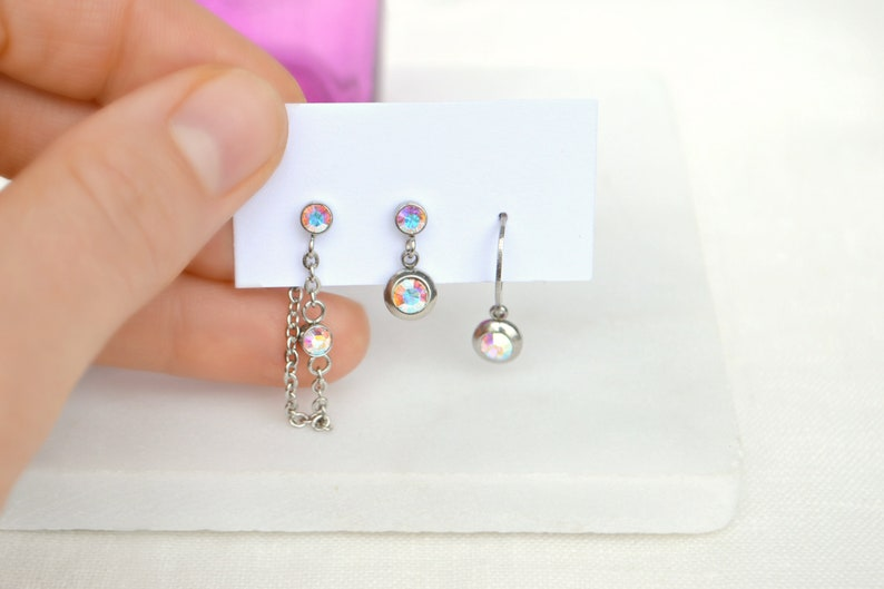 Triple piercing studs set Swarovski earrings Three two holes earlobe  piercing Mismatched earrings set Hypoallergenic Surgical steel earrings