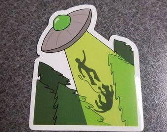Forest Dog Abduction UFO Alien Sticker
