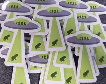 UFO Alien Abduction Sticker