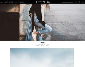 """Blogger Template Responsive """"Florentins"""" / Instant Digital Download Photography Premade Blog Theme Design Slider"""