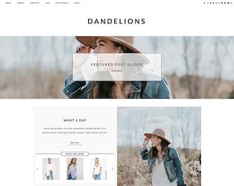 "Responsive Wordpress Theme ""Dandelions"" // Blog Design Ecommerce Woocommerse Website Shop Active Instant Download Template"