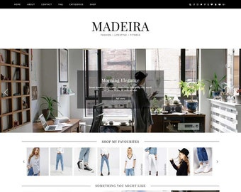 "Wordpress Theme ""Madeira"" / Responsive Instant Digital Download Premade Blog Template Design"