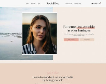 Social Bee WordPress Theme - Social Media Manager, Podcast, Shop, Coaching, Services, Blog theme