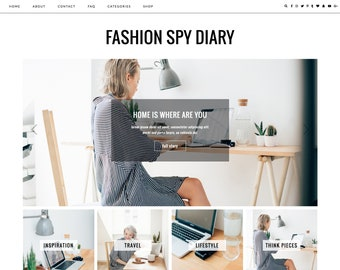 Responsive Wordpress Theme Fashion Spy // Premade Blog Design Template Ecommerce Woocommerse Website Shop