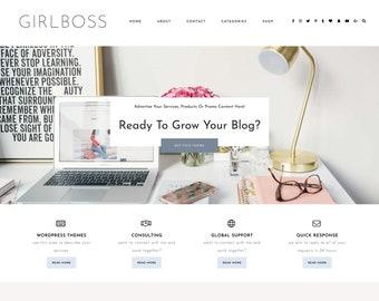 "WordPress Theme ""Girlboss"" | Infopreneur Magazine Solopreneur Premade WordPress Design Ecommerce Woocommerse Website Shop"