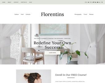 "Responsive Wordpress Theme ""Florentins"" | Photography Instant Digital Download Woo-commerce Website Theme Design"
