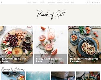 "Responsive Wordpress Theme ""Pinch of Salt"" | Food Blog Foodie Blogger Woo-commerce Website Design Shop"