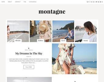 "Wordpress Theme ""Montagne"" // Responsive Magazine Style Premade Wordpress Template Design"
