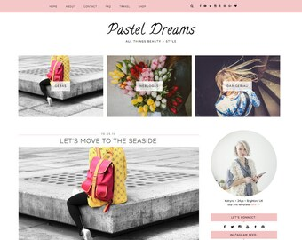 "Wordpress Theme ""Pastel Dreams"" // Responsive Premade Blog Design Template Instant Download"