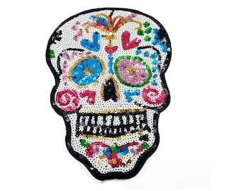 Large Silver Black Sequins Skull Patch H3 12 X W3
