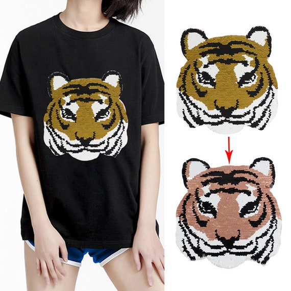 Fashion Tiger Head Sequin Sew on Appliques Patches Sticker for T-shirts Coat
