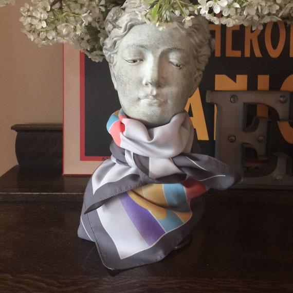 Vintage rainbow scarf, silky face mask, rainbow fa