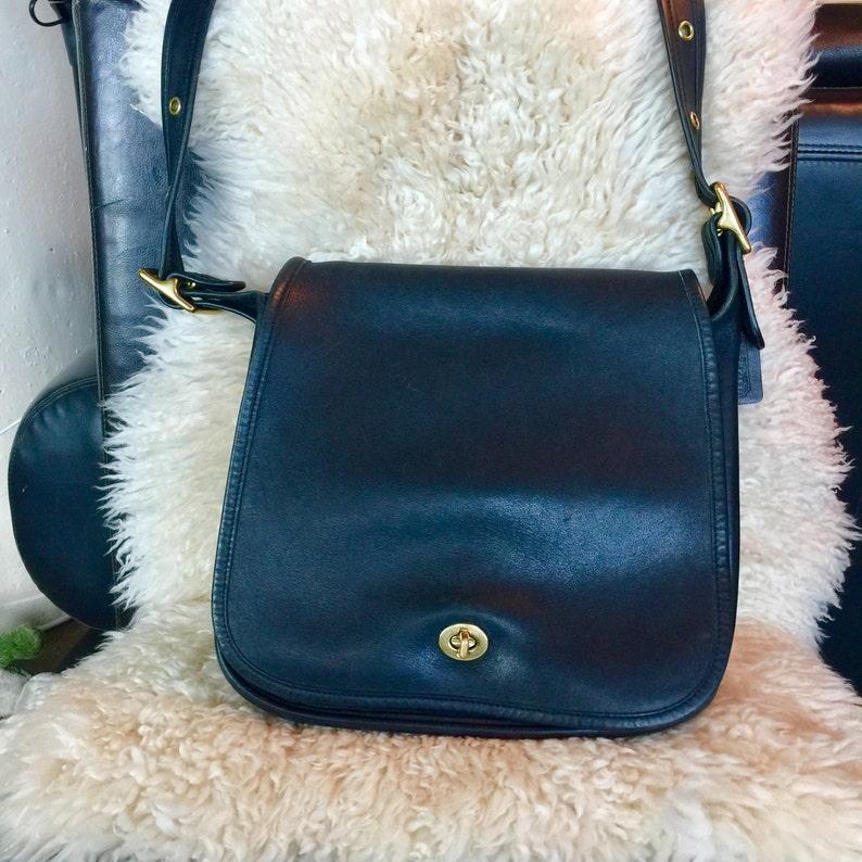 cb13b07308c Black leather Coach stewardess bag black leather bag Coach | Etsy